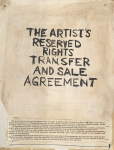 "Siegelaub's ""Artist's Reserved Rights..."" Agreement."