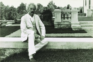 Samuel Clemens (Mark Twain) poses in his classic white suit, 1905. George Edward Perine, Prints and Photographs Division, Library of Congress.