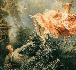 Detail from Fragonard's The Swing (1767). Via Wikipedia.