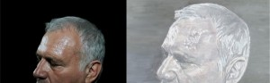 Luc Tuymans's painting A Belgian Politician, 2011 (left), and Katrijn van Giel's original photograph of Jean-Marie Dedecker.