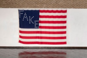 Daniel Bejar's Rec-elections (False Flag), an 8- by 12-foot American flag based on Abraham Lincoln's 1864 re-election campaign banner