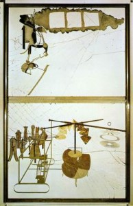 "The Bride Stripped Bare by Her Bachelors, Even (The Large Glass). (1915-23). Oil, varnish, lead foil, lead wire, and dust on two glass panels. 109 1/4"" x 69 1/4"". Philadelphia Museum of Art."